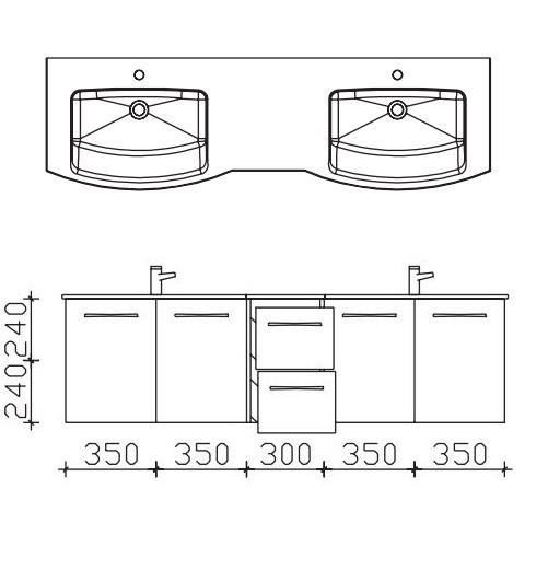 Pelipal Solitaire 7025 Doppelwaschtisch mit Unterschrank 172 cm breit