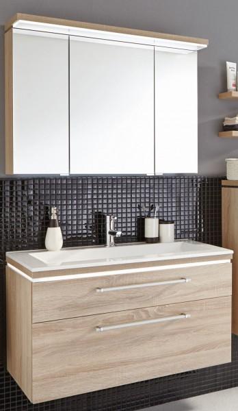 Puris Cool Line Badmöbel Set 92 cm - Spiegelschrank inkl. Gesimsboden mit LED-Flächenleuchte