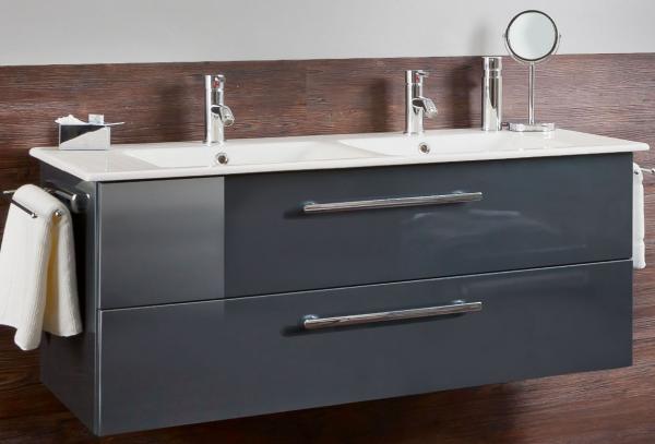 Marlin Bad 3030 - Christall Doppelwaschtisch mit Unterschrank 120 cm breit