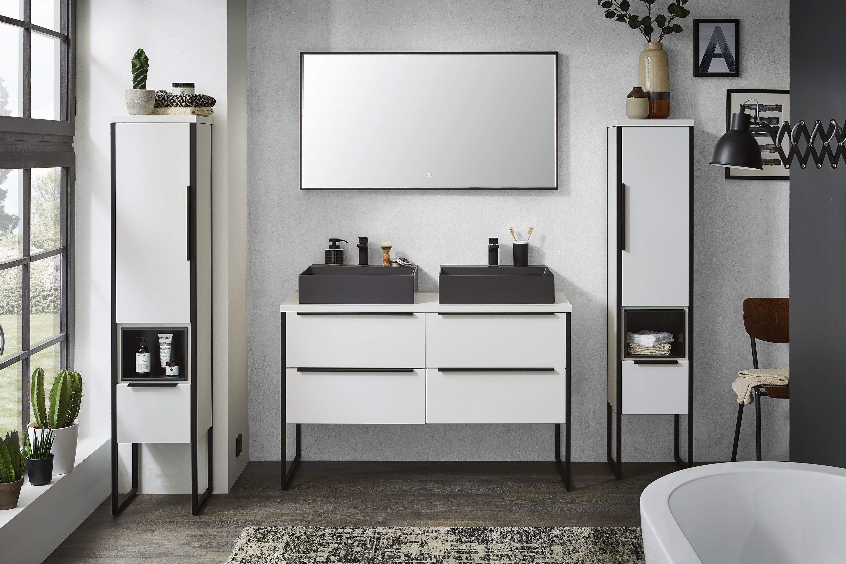 doppelwaschtisch mit unterschrank im badm bel set badm bel 1. Black Bedroom Furniture Sets. Home Design Ideas