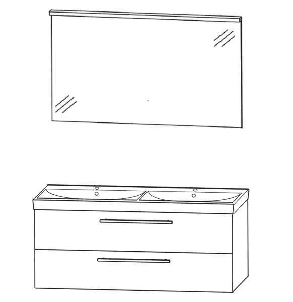 Puris Protection1 - Badmöbelset 2 - 120 cm / mit Flächenspiegel