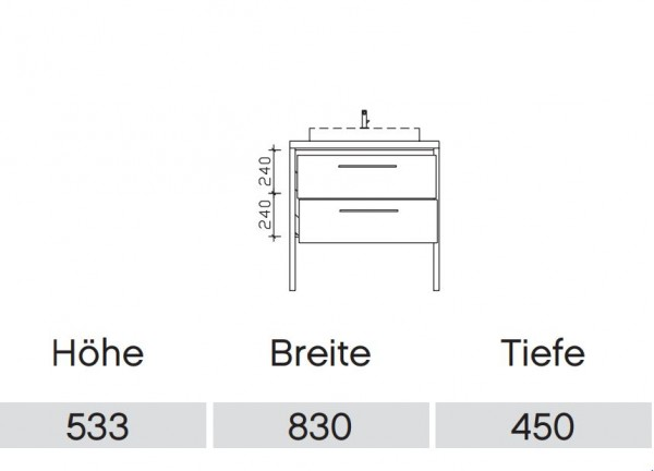 Pelipal Solitaire 9025 Waschtisch mit Unterschrank 63 cm / Aufsatzbecken / Unterschrank mit Auszügen