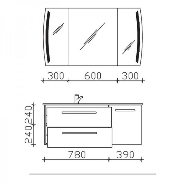 Pelipal Contea Badmöbel 125 cm breit - Set 2.9.1 - Becken links