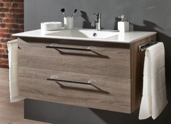 Marlin Bad 3030 - Christall Waschtisch mit Unterschrank 100 cm breit , 2 Auszüge