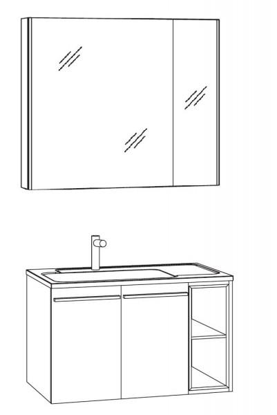 Marlin Bad 3250 Badmöbel Set 80 cm breit, mit Türen, Spiegelschrank