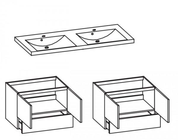 Pelipal 342 Filo - Doppelwaschtisch mit Unterschrank 145 cm breit