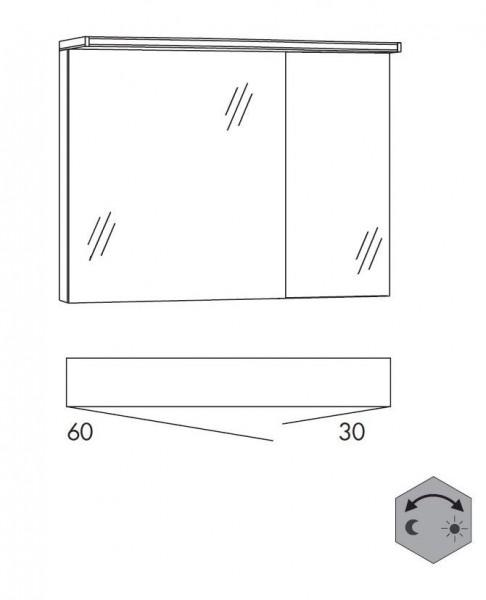 Marlin Bad 3160 - Motion Spiegelschrank 90 cm breit SAOZ63 / SAOZ36