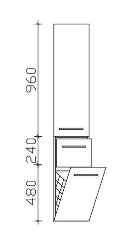 Pelipal Neutraler Bad-Hochschrank mit Wäschekippe - Breite wählbar