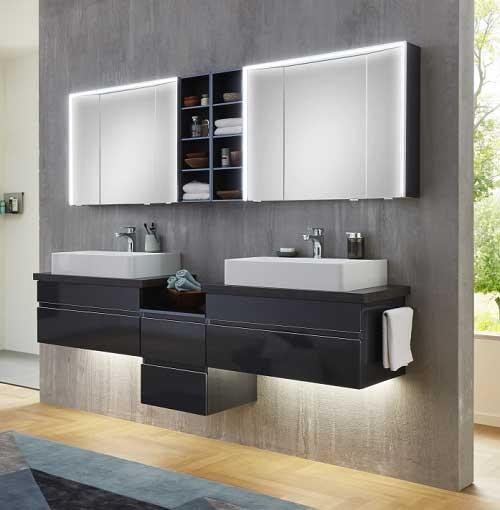 Marlin Bad 3390 - Badmöbelset 200 cm / mit Doppel-Aufsatzbecken und Spiegelschrank