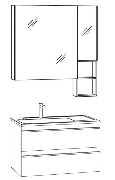Marlin Bad 3250 Badmöbel Set 80 cm breit, mit Auszüge, Spiegelschrank mit Regal