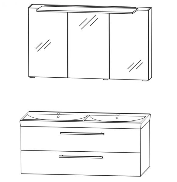 Puris Protection1 - Badmöbelset 1 - 120 cm / mit Spiegelschrank - Serie A