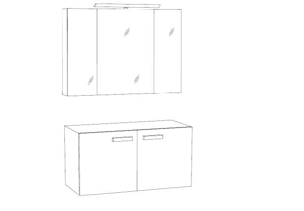Marlin Bad 3030 - Christall Badmöbel Set 100 cm breit kombinierbar, 2 Türen