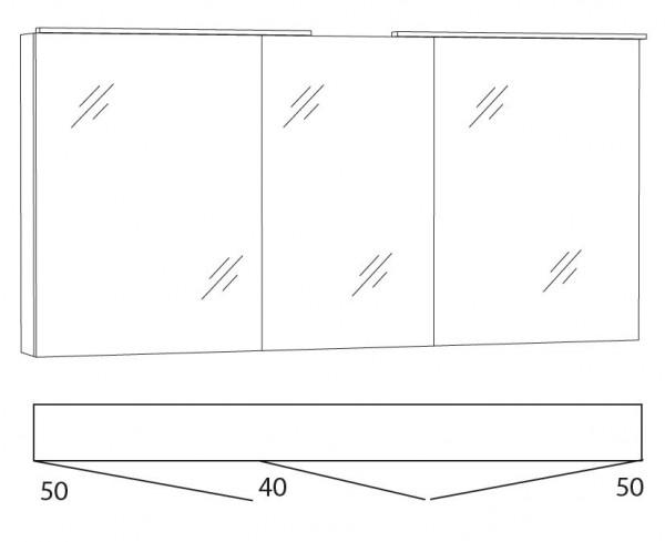 Marlin Bad 3130 - Azure Spiegelschrank 140 cm breit SFLA14