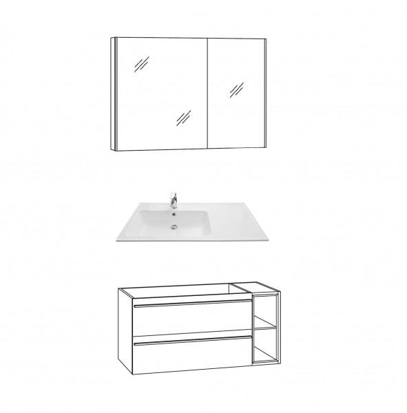 Marlin Bad 3250 Badmöbel Set 100 cm breit, mit Regal / Auszügen - Set 1