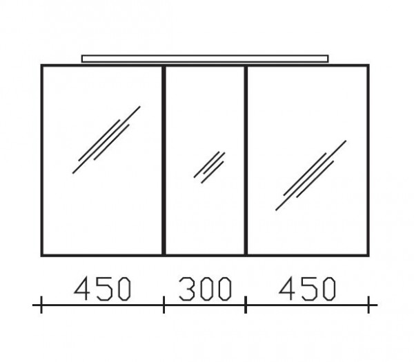 Pelipal Solitaire 6110 Spiegelschrank mit LEDplus-Aufsatzleuchte 120 cm breit 6110-SPS 12