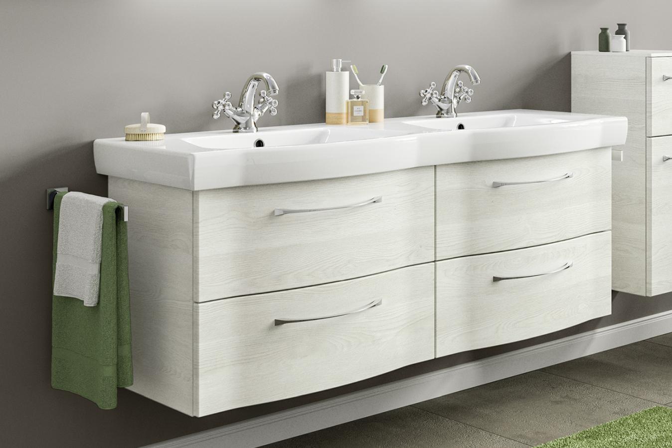 pelipal solitaire 6005 doppelwaschtisch mit unterschrank 137 cm breit badm bel 1. Black Bedroom Furniture Sets. Home Design Ideas