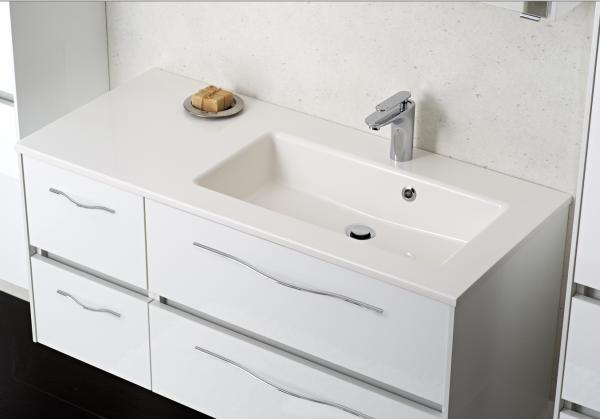 Pelipal Solitaire 6010 Waschtisch mit Unterschrank 113 cm breit 4 Auszüge – Becken Rechts