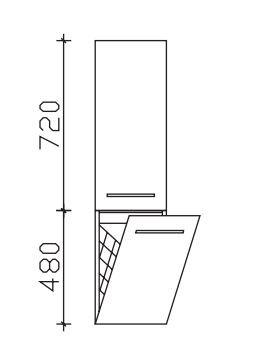 Pelipal Neutraler Bad-Midischrank - 1 Drehtüre, 1 Wäschekippe / Breite wählbar