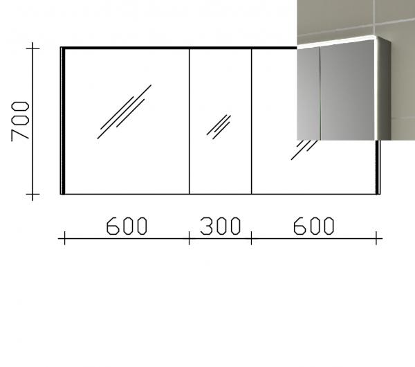 Pelipal Solitaire 6010 Spiegelschrank 154 cm breit 6010-SPSB 06