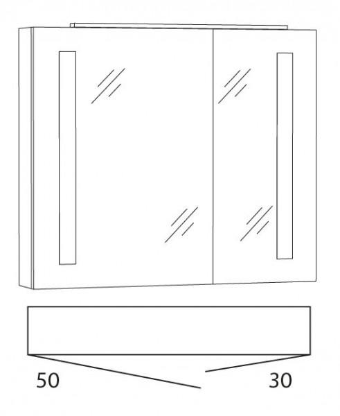 Marlin Bad 3130 - Azure Spiegelschrank 80 cm breit SFLS8L / SFLS8R