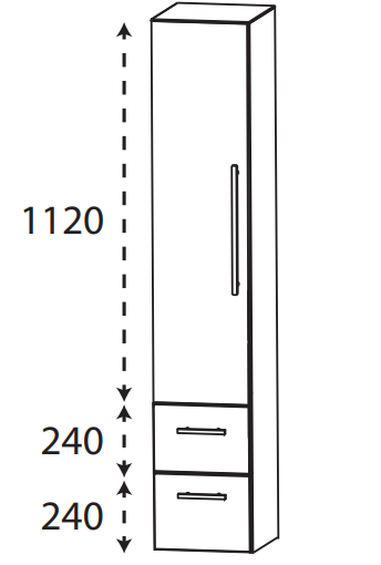 Puris Protection1 - Hochschrank HNA08304 L/R / 30 oder 40 cm