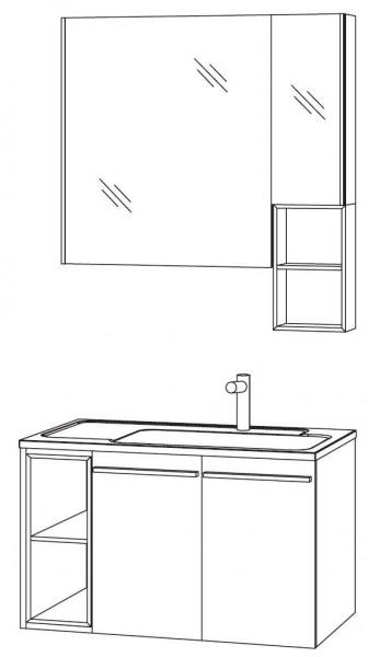 Marlin Bad 3250 Badmöbel Set 80 cm breit, mit 2 Türen, Spiegelschrank mit Regal