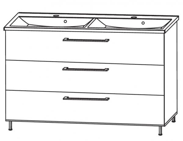 Puris Quada Waschtisch mit Unterschrank 120 cm breit SETQU2D1/2 mit Doppelwaschtisch