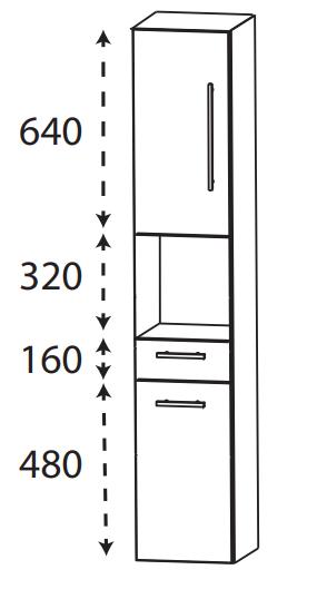 Puris Protection1 - Hochschrank HNA23001 L/R / 30 oder 40 cm