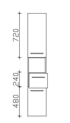 Pelipal Neutraler Bad-Hochschrank 2 Türen, 1 Fach, 1 Auszug - Breite wählbar