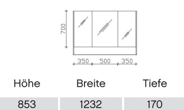 Pelipal Solitaire 6040 Bad-Spiegelschrank mit offenem Fach / 123 cm SENE00212