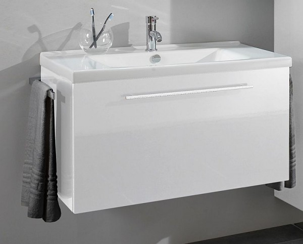 Marlin Bad 3040 - CityPlus Waschtisch mit Unterschrank 91 cm breit, mit Keramikbecken
