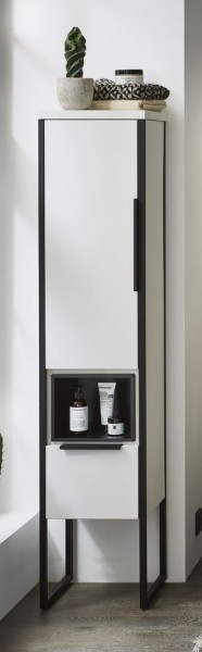 Puris Aspekt Bad-Mittelschrank - mit Drehtüre / Einschubregal und Ablageplatte