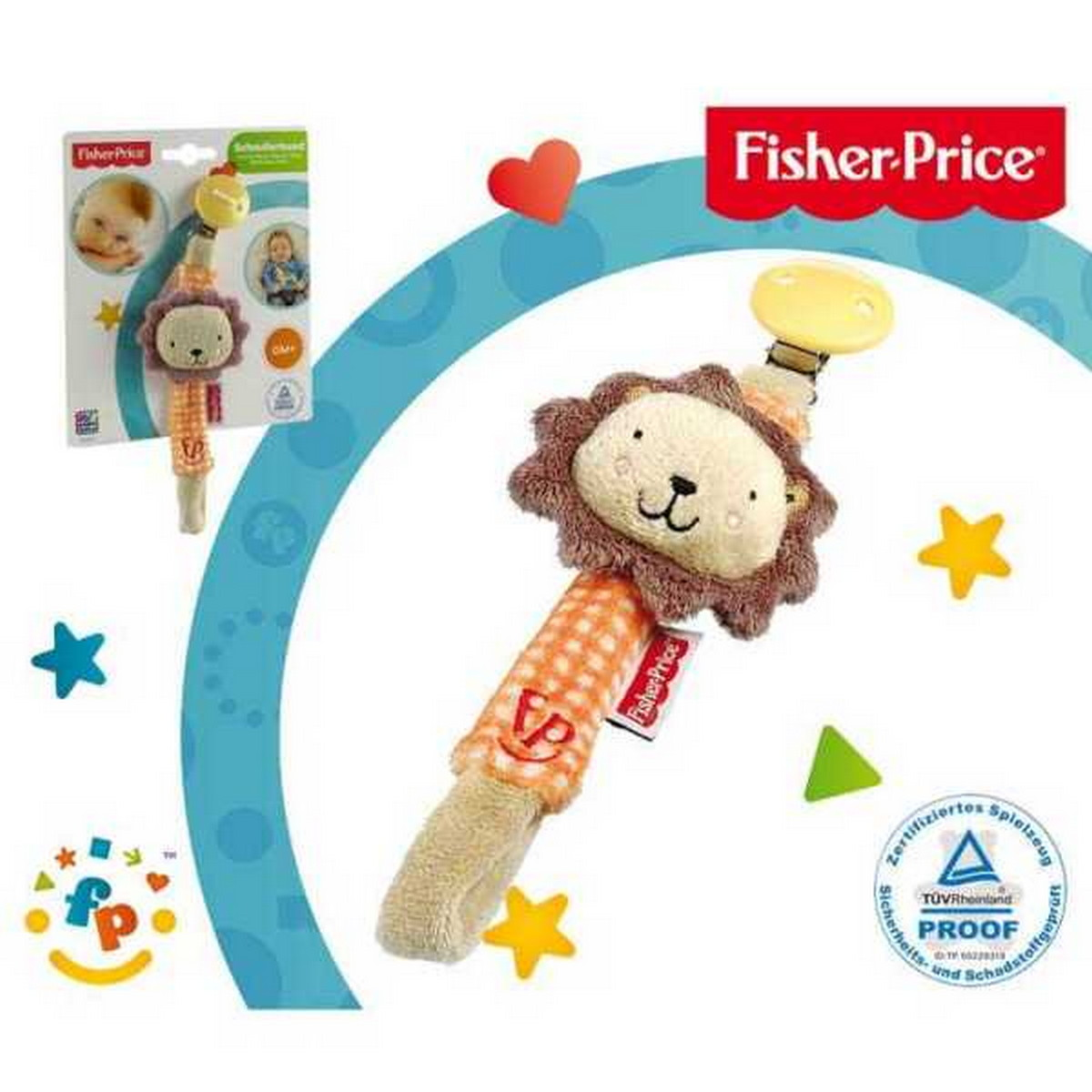 Fisher-Price Schnullerband Löwe orange/braun 14. - 40816