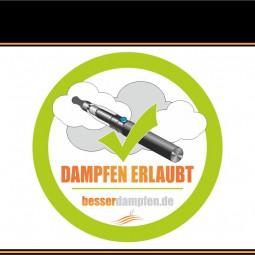 Aufkleber DAMPFEN ERLAUBT outdoor/indoor 95x95mm