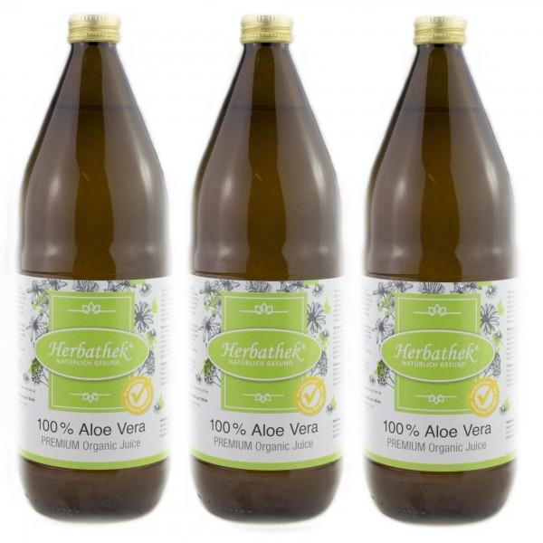 Aloe vera Bio-Saft - Premium, Vorteilspack 3 x 1l
