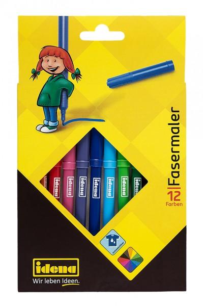 Idena 10037 - Fasermaler, 2 mm Spitze, 12 Farben, 12 Stück