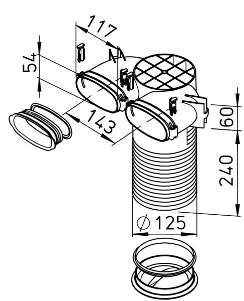 HELIOS Decken-/Wandkasten FlexPipe, DN125 FRS-DWK2-51 125