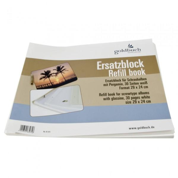 Goldbuch Ersatzblock 30x25 30 Seiten weiß Schrauben