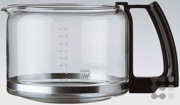 Krups F03442 Glaskrug Espresso-/Kaffeemaschinenzubehör mit Deckel, 10 Tassen, schwarz