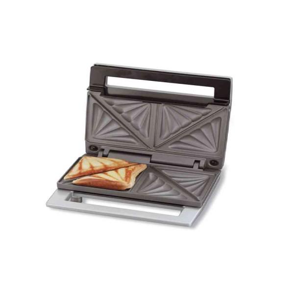 Cloer 6219 Sandwichmaker / 900 W / für 2 diagonal geteilte Toasts / optische Fertigmeldung / Kabelau
