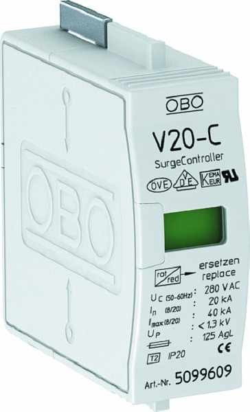 OBO V20C0 Überspannleiter Typ V 20-C/0 Oberteil, 1-polig, 5099609