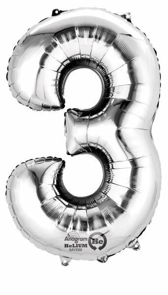 amscan Folienballon SuperShape Zahl 3, Silber
