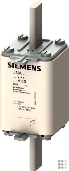 Siemens 3NA3140 LV HRC Sicherungsverbindung, NH1, in: 200A, gG, AC: 500V, Un DC: 440V, Frontblinker,
