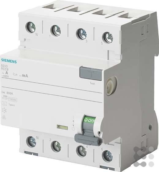 Siemens Indus.Sector FI-Schutzschalter 5SV3344-6KL 40A,3+N,30mA,400V SENTRON Fehlerstrom-Schutzschal