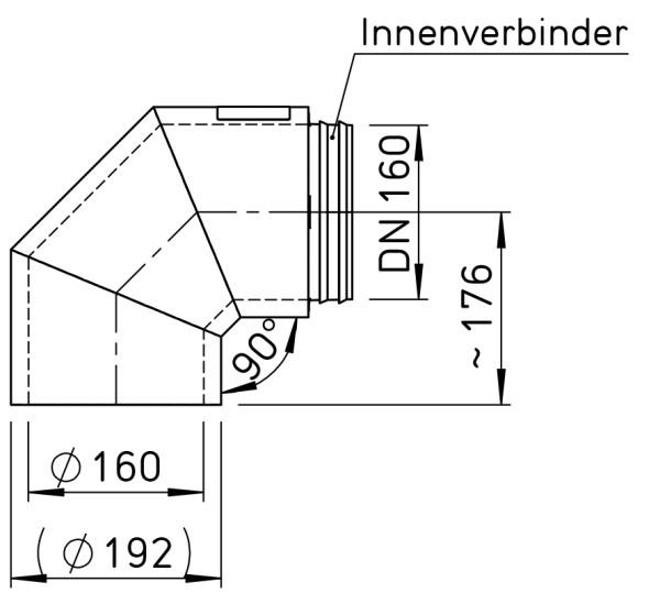 Helios IP-B 160/90 IsoPipe 90 Grad Bogen m. Innenverbinder 9451