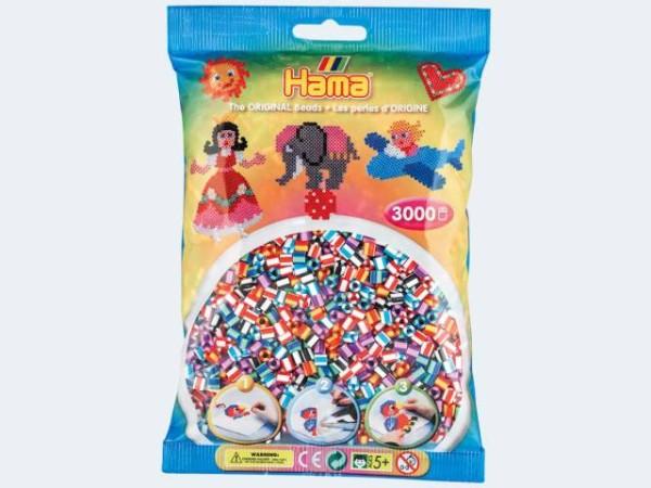 Hama 201-90 201-90-Beutel mit 3000 gestreiften Perlen, bunt