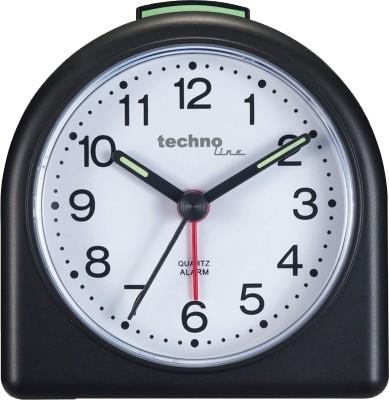 Technoline Quarzwecker Modell SD, schwarz, analog, nachtleuchtende Zeiger