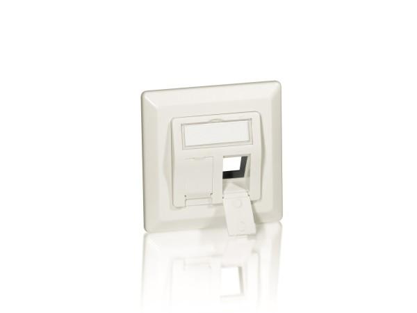 Equip Unterputz Rahmenset perlweiss 80x80 mit Abdeckung/Zentralplatte für zwei Keystonejacks pro