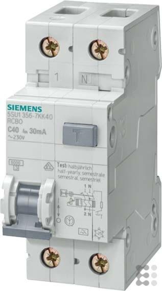 Siemens Indus.Sector FI/LS-Schutzeinrichtung 5SU1356-6KK16 B,16A,1+N,30mA,6kA SENTRON Kombination FI