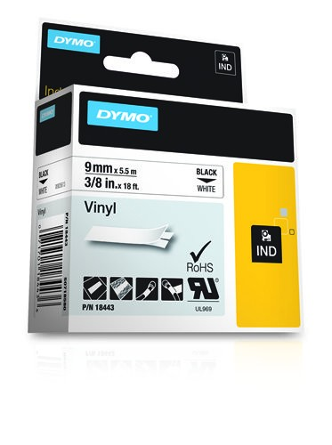 Dymo Rhino Band Vinyl schwarz auf weiss 9 mm x 5,5 m